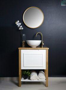 ארון אמבטיה דגם חרצית עומד כולל כיור או משטח עץ