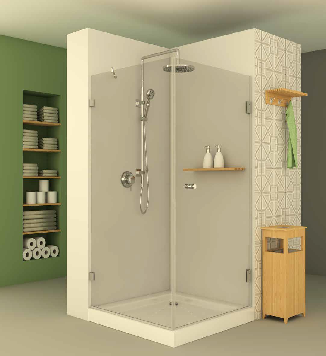 מקלחון פינתי בהזמנה מיוחדת שני דלתות ושני יחידות קבועות