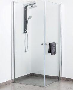 מקלחון פינתי שני דלתות זכוכית מחוסמת