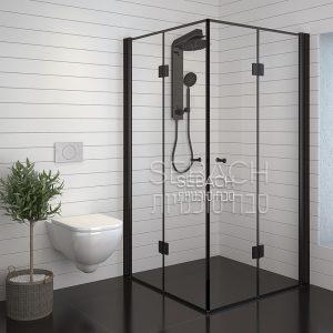מקלחון פינתי שחור שני דלתות הרמוניקה עם מסגרת שחורה BLACK LINE