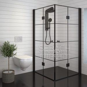 מקלחון פינתי שחור שני דלתות הרמוניקה עם קוביות שחורות BLACK LINE