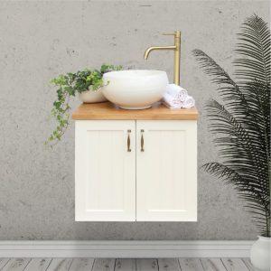 ארון אמבטיה כפרי תלוי דלתות חריצים ומשטח בוצ'ר