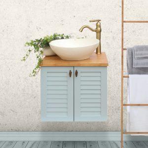 ארון אמבטיה כפרי תלוי תריסים ומשטח בוצ'ר