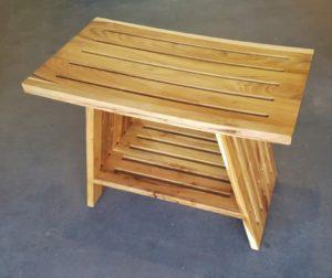 """ספסל עץ טיק למקלחת 60 ס""""מ"""