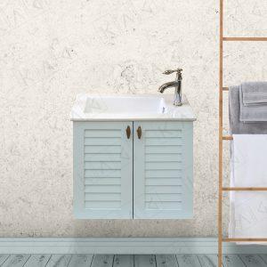ארון אמבטיה כפרי תלוי תריסים וכיור אינטגרלי במחיר מבצע