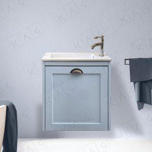 ארון אמבטיה כפרי תלוי דלתות מסגרת ומשטח אינטגרלי – דגם ניו דקו