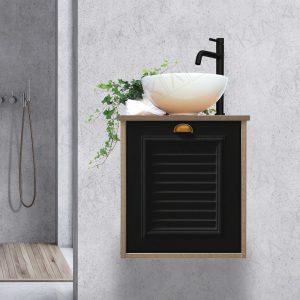 ארון אמבטיה כפרי תלוי דלת תריס בשחור או לבן