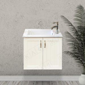 ארון אמבטיה כפרי תלוי עם דלתות מסגרת וכיור אינטגרלי במחיר מבצע