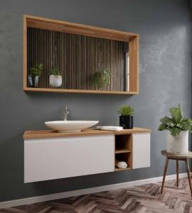 ארון אמבטיה דגם מרי לו כולל בוצ'ר כיור לבחירה ומראה