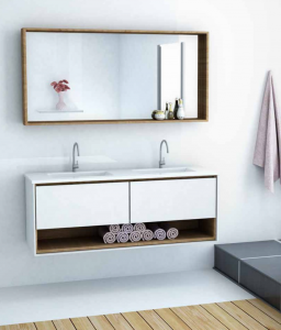 ארון אמבטיה דגם ואנטי כולל כיור כפול ומראה – לפי מידה