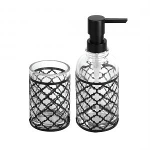 סט כוס ודיספנסר לסבון נוזלי עם עיטור שחור/כרום מבריק/רוז גולד – סדרת GAIA