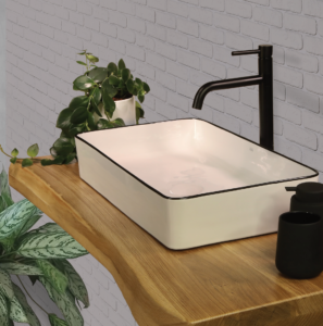 משטח עץ אלון לכיור אמבטיה